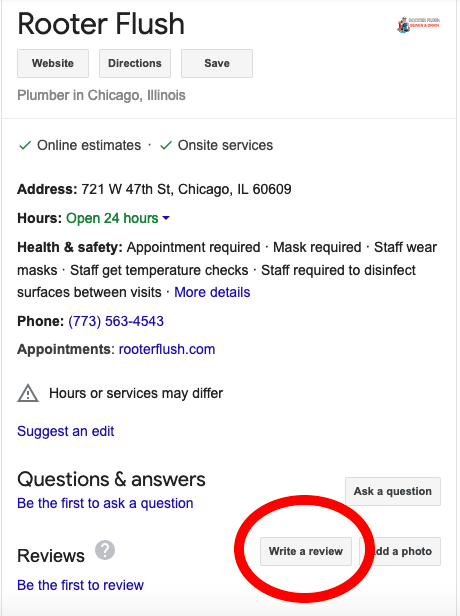 Rooter Flush Google Review page